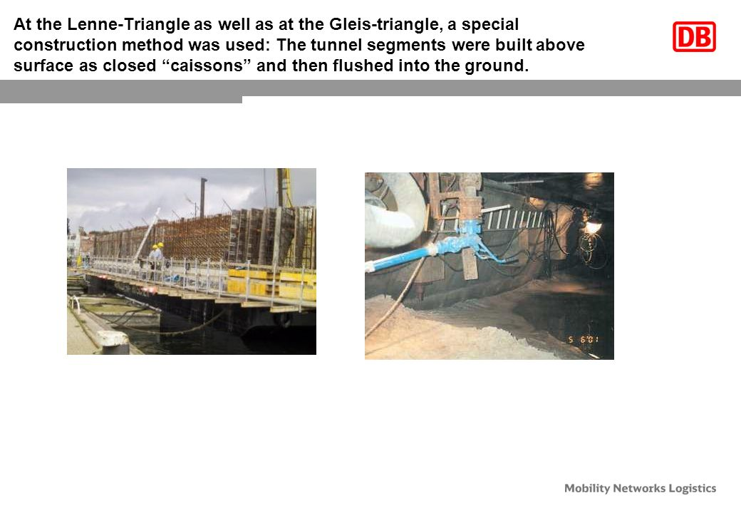At the Lenne-Triangle as well as at the Gleis-triangle, a special construction method was used: The tunnel segments were built above surface as closed caissons and then flushed into the ground.
