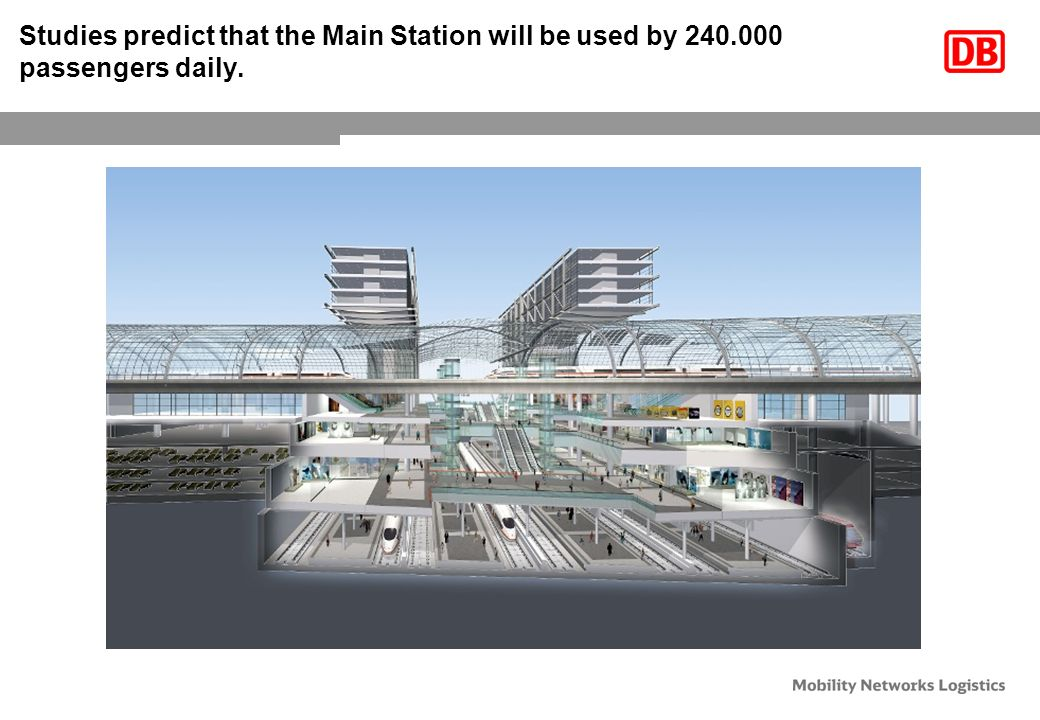 Studies predict that the Main Station will be used by 240.000 passengers daily.