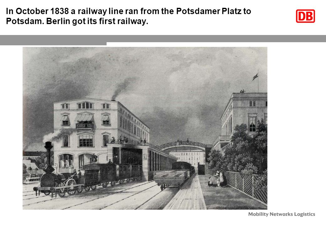 In October 1838 a railway line ran from the Potsdamer Platz to Potsdam.