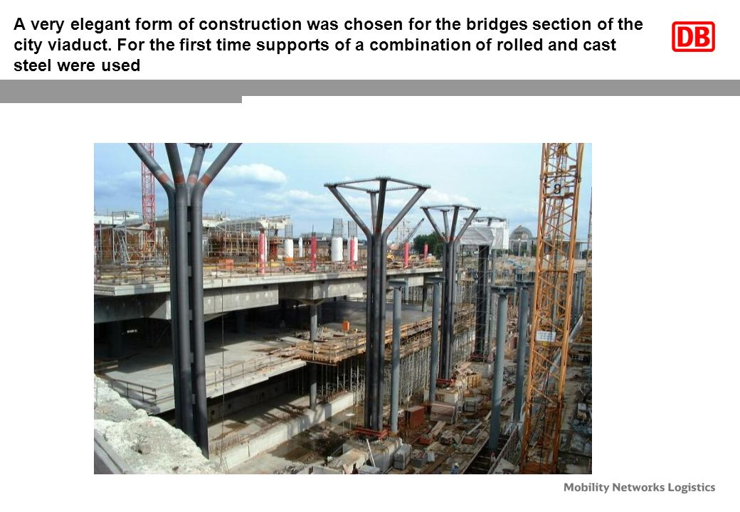 A very elegant form of construction was chosen for the bridges section of the city viaduct.
