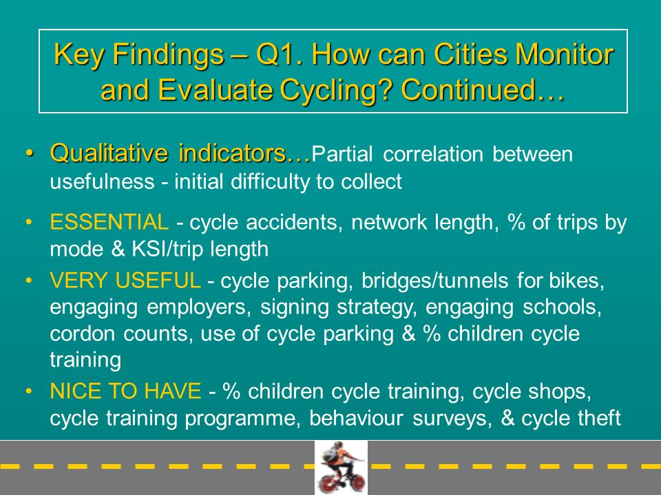 Key Findings – Q1. How can Cities Monitor and Evaluate Cycling.