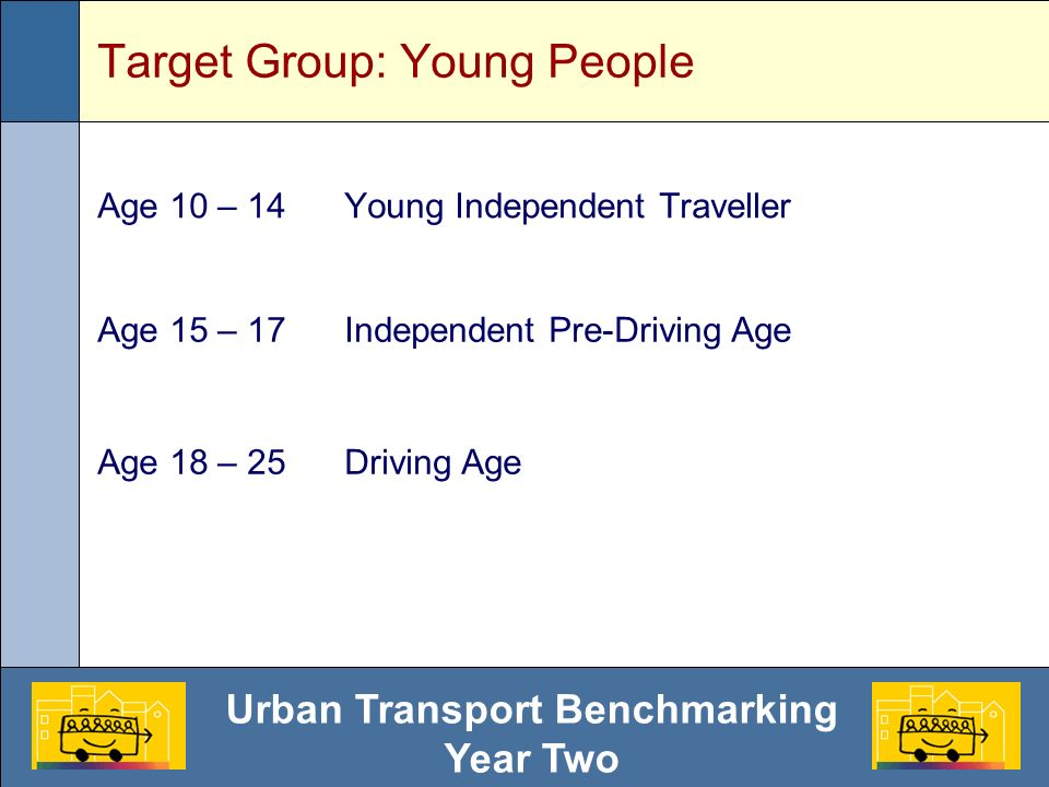 Urban Transport Benchmarking Year Two Target Group: Young People Age 10 – 14Young Independent Traveller Age 15 – 17Independent Pre-Driving Age Age 18 – 25Driving Age