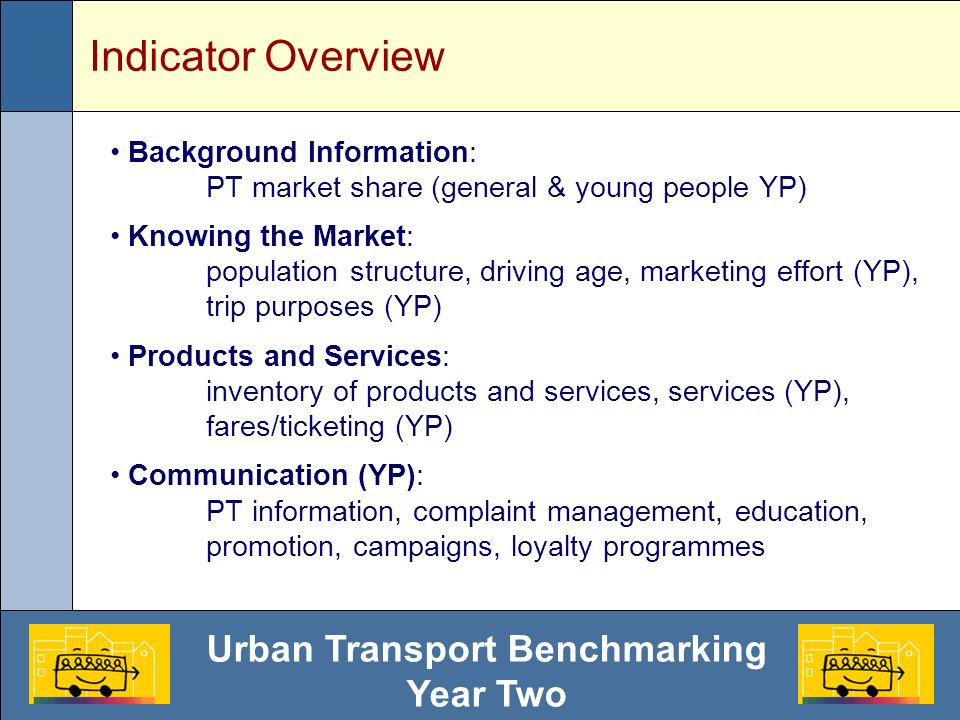 Urban Transport Benchmarking Year Two Indicator Overview Background Information: PT market share (general & young people YP) Knowing the Market: population structure, driving age, marketing effort (YP), trip purposes (YP) Products and Services: inventory of products and services, services (YP), fares/ticketing (YP) Communication (YP): PT information, complaint management, education, promotion, campaigns, loyalty programmes