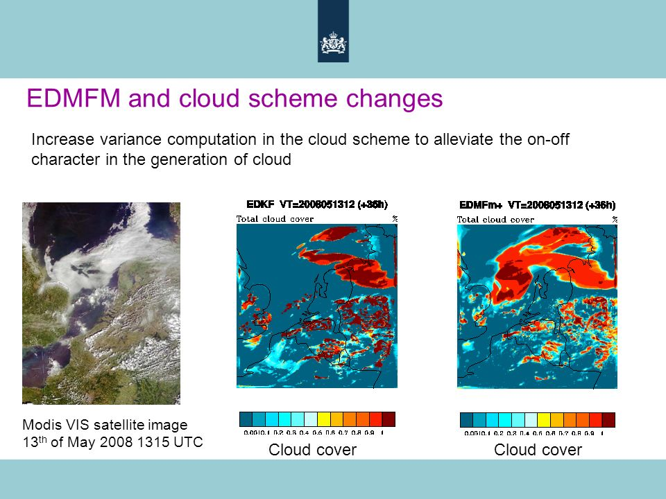 Modis VIS satellite image 13 th of May 2008 1315 UTC Cloud cover EDMFM and cloud scheme changes Increase variance computation in the cloud scheme to alleviate the on-off character in the generation of cloud