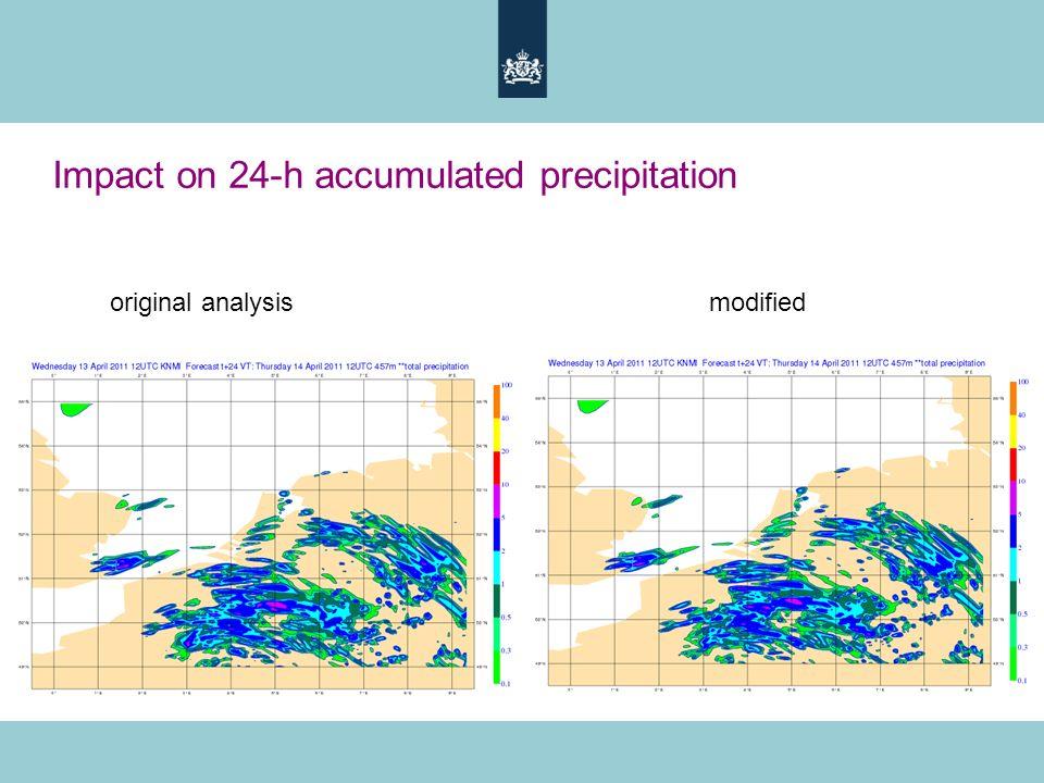 Impact on 24-h accumulated precipitation original analysis modified