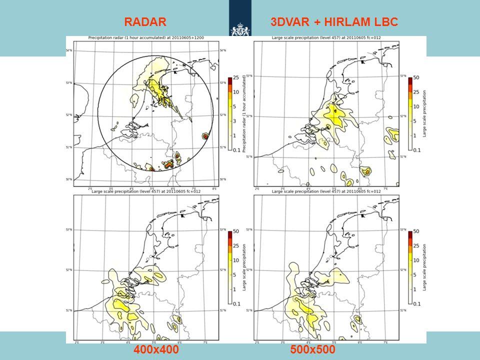 RADAR 3DVAR + HIRLAM LBC 400x400 500x500