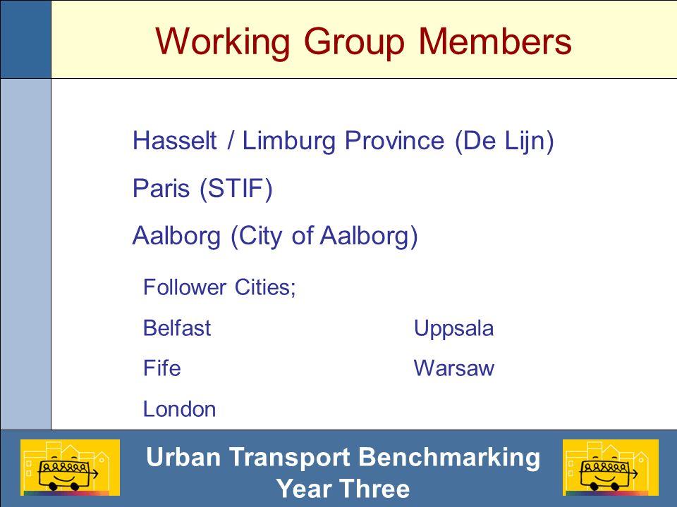 Urban Transport Benchmarking Year Three Working Group Members Hasselt / Limburg Province (De Lijn) Paris (STIF) Aalborg (City of Aalborg) Follower Cities; BelfastUppsala FifeWarsaw London