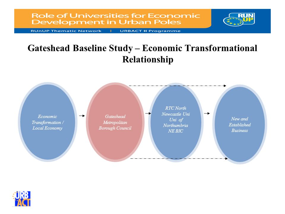 Gateshead Baseline Study – Economic Transformational Relationship Gateshead Metropolitan Borough Council Economic Transformation / Local Economy New and Established Business RTC North Newcastle Uni Uni of Northumbria NE BIC
