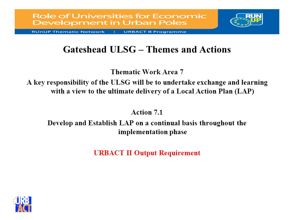 Gateshead ULSG – Themes and Actions Thematic Work Area 7 A key responsibility of the ULSG will be to undertake exchange and learning with a view to the ultimate delivery of a Local Action Plan (LAP) Action 7.1 Develop and Establish LAP on a continual basis throughout the implementation phase URBACT II Output Requirement