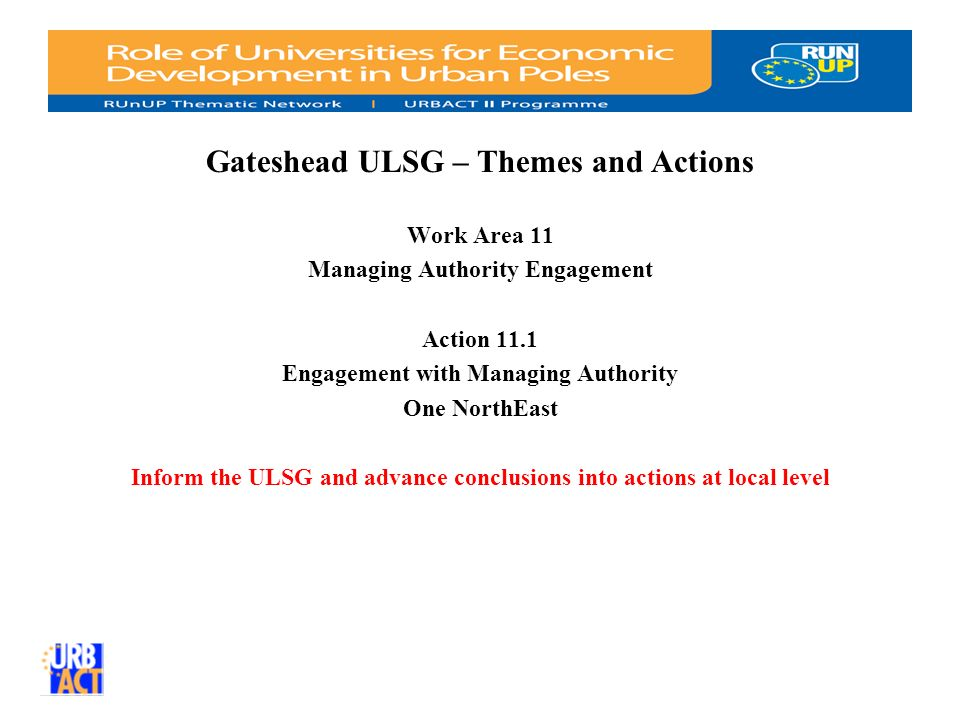 Gateshead ULSG – Themes and Actions Work Area 11 Managing Authority Engagement Action 11.1 Engagement with Managing Authority One NorthEast Inform the ULSG and advance conclusions into actions at local level