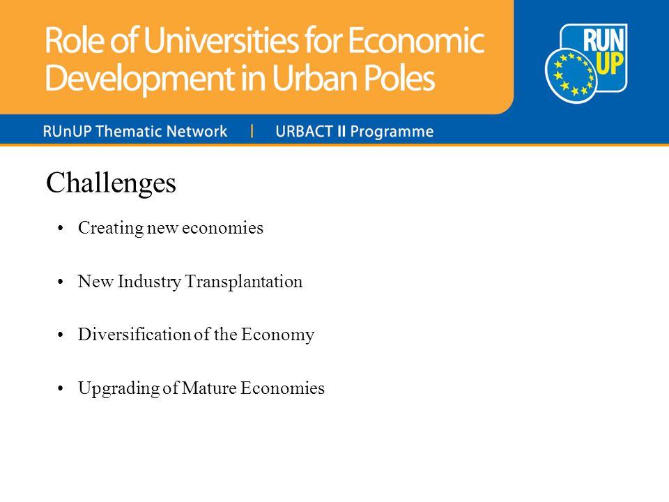 Challenges Creating new economies New Industry Transplantation Diversification of the Economy Upgrading of Mature Economies