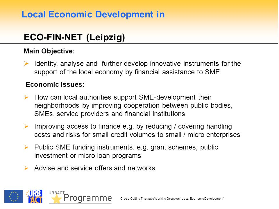 Cross-Cutting Thematic Working Group on Local Economic Development ECO-FIN-NET (Leipzig) Main Objective: Identity, analyse and further develop innovative instruments for the support of the local economy by financial assistance to SME Economic issues: How can local authorities support SME-development their neighborhoods by improving cooperation between public bodies, SMEs, service providers and financial institutions Improving access to finance e.g.