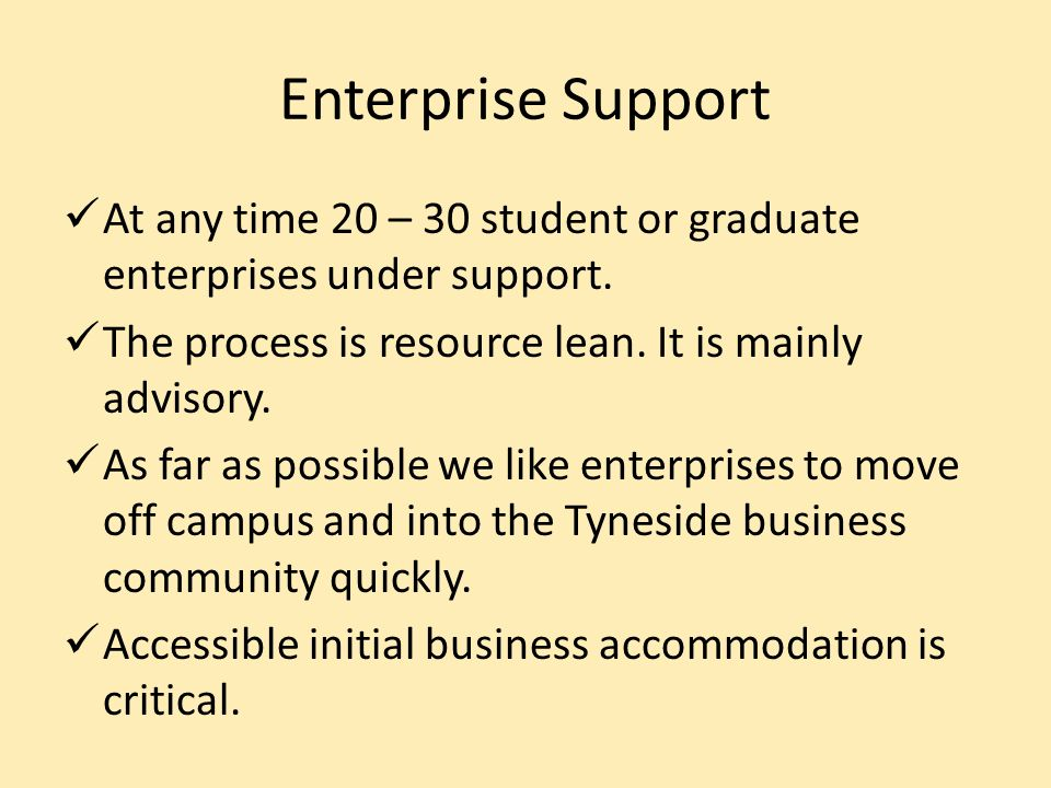 Enterprise Support At any time 20 – 30 student or graduate enterprises under support.