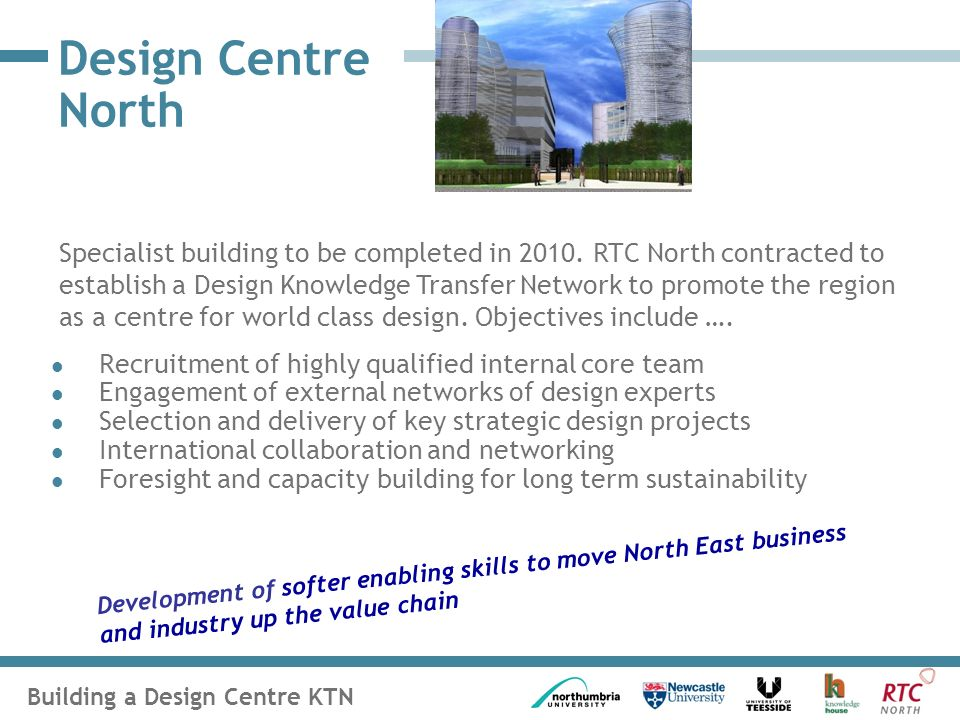 Building a Design Centre KTN Design Centre North Recruitment of highly qualified internal core team Engagement of external networks of design experts Selection and delivery of key strategic design projects International collaboration and networking Foresight and capacity building for long term sustainability Development of softer enabling skills to move North East business and industry up the value chain Specialist building to be completed in 2010.