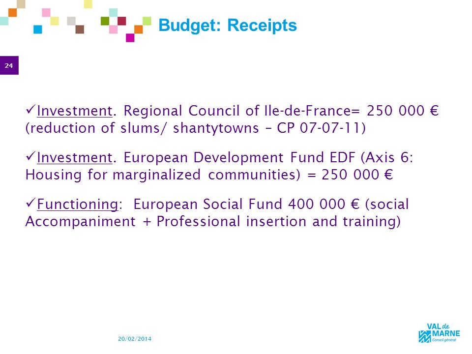 24 20/02/2014 Budget: Receipts Investment. Regional Council of Ile-de-France= 250 000 (reduction of slums/ shantytowns – CP 07-07-11) Investment. Euro