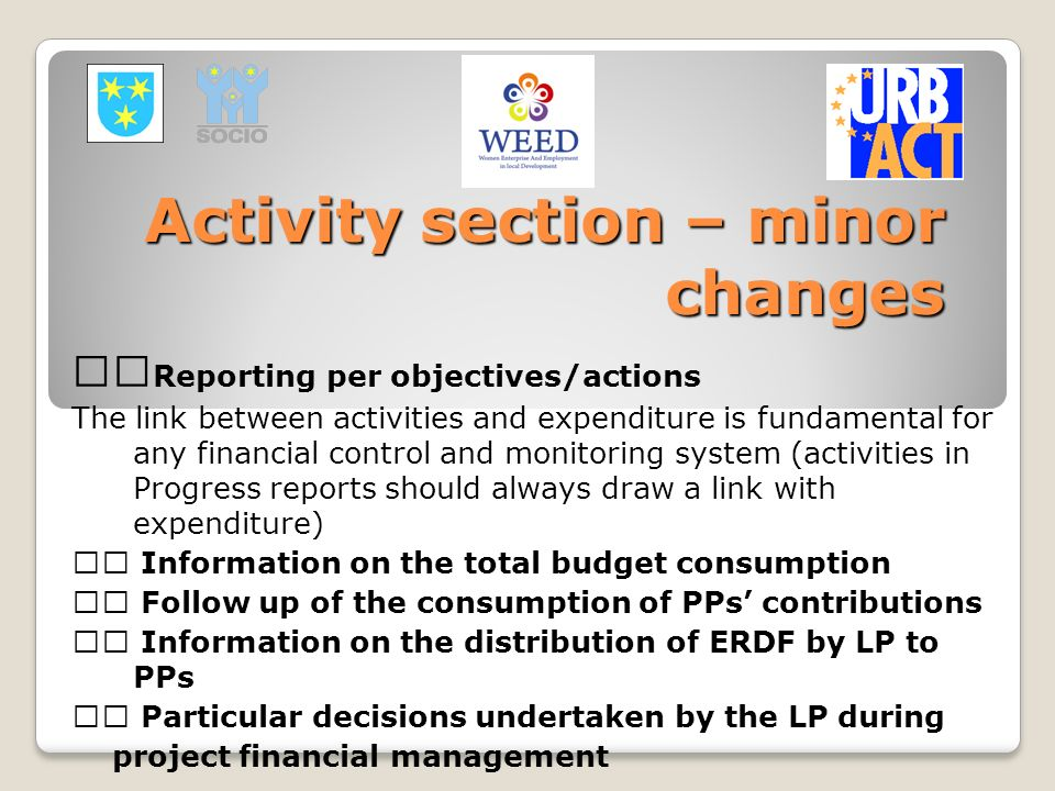 Activity section – minor changes Reporting per objectives/actions The link between activities and expenditure is fundamental for any financial control