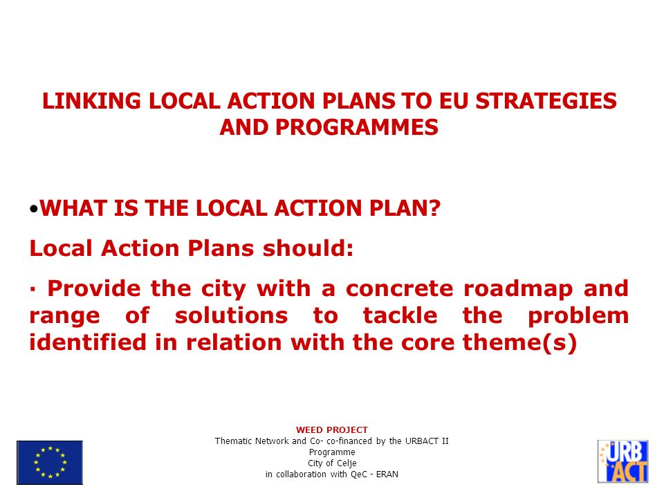 LINKING LOCAL ACTION PLANS TO EU STRATEGIES AND PROGRAMMES WHAT IS THE LOCAL ACTION PLAN.