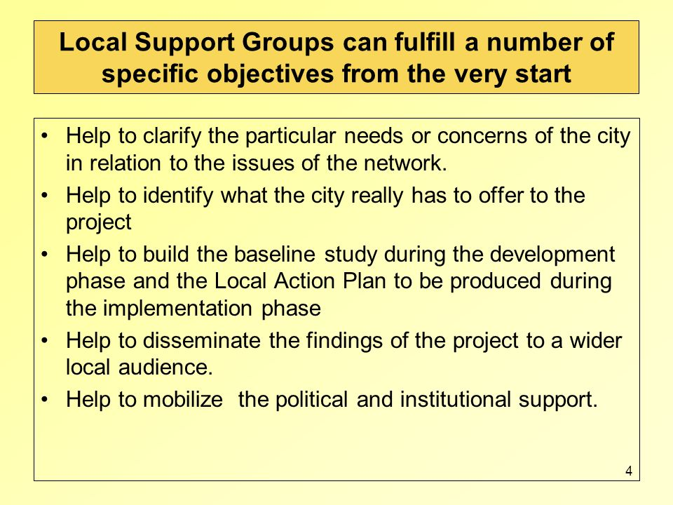 4 Local Support Groups can fulfill a number of specific objectives from the very start Help to clarify the particular needs or concerns of the city in