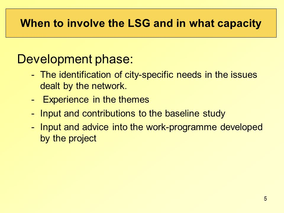 5 When to involve the LSG and in what capacity Development phase: -The identification of city-specific needs in the issues dealt by the network. - Exp
