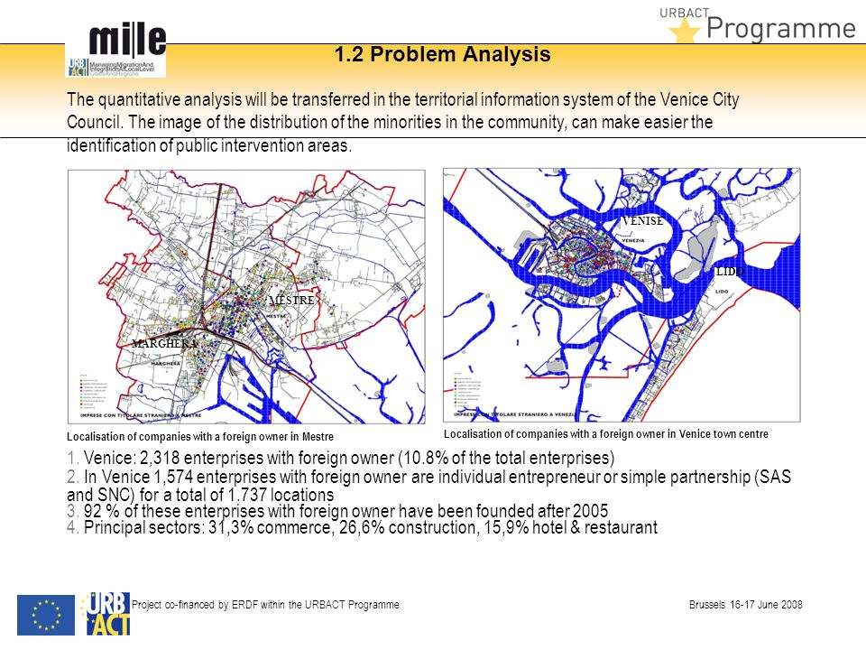 1.2 Problem Analysis Project co-financed by ERDF within the URBACT Programme Brussels 16-17 June 2008 The quantitative analysis will be transferred in the territorial information system of the Venice City Council.