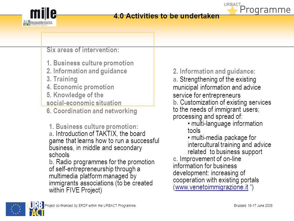 4.0 Activities to be undertaken Six areas of intervention: 1.