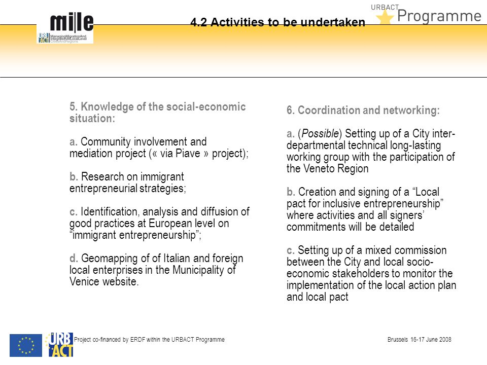 4.2 Activities to be undertaken Project co-financed by ERDF within the URBACT Programme Brussels 16-17 June 2008 5.