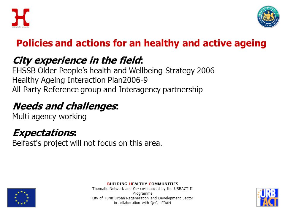 Policies and actions for an healthy and active ageing City experience in the field: EHSSB Older Peoples health and Wellbeing Strategy 2006 Healthy Ageing Interaction Plan All Party Reference group and Interagency partnership Needs and challenges: Multi agency working Expectations: Belfast s project will not focus on this area.