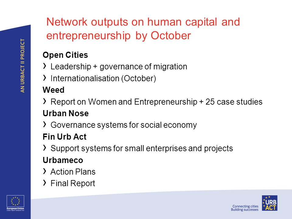 Network outputs on human capital and entrepreneurship by October Open Cities Leadership + governance of migration Internationalisation (October) Weed