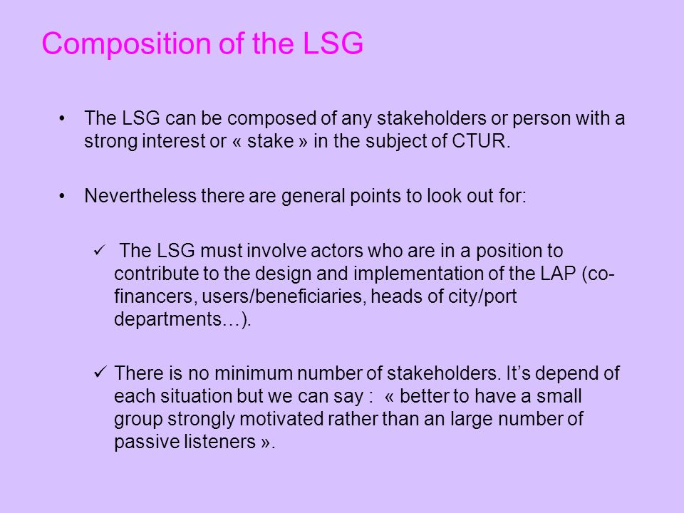 Composition of the LSG The LSG can be composed of any stakeholders or person with a strong interest or « stake » in the subject of CTUR.
