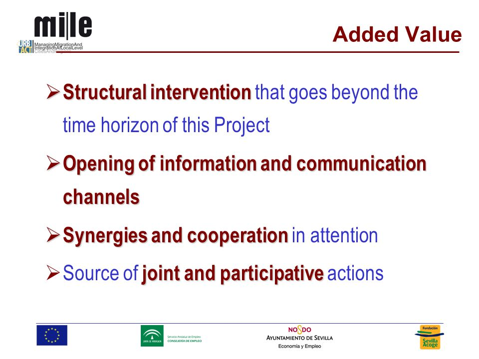 Added Value Structural intervention Structural intervention that goes beyond the time horizon of this Project Opening of information and communication channels Opening of information and communication channels Synergies and cooperation Synergies and cooperation in attention joint and participative Source of joint and participative actions