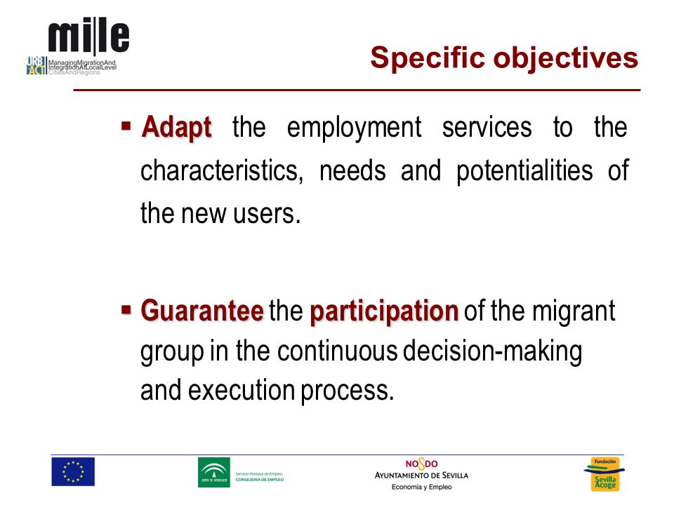 Adapt Adapt the employment services to the characteristics, needs and potentialities of the new users.