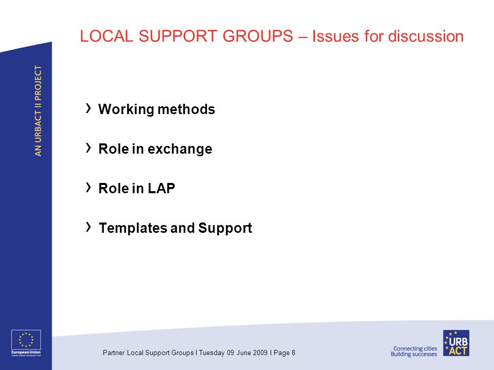 Partner Local Support Groups I Tuesday 09 June 2009 I Page 8 LOCAL SUPPORT GROUPS – Issues for discussion Working methods Role in exchange Role in LAP Templates and Support