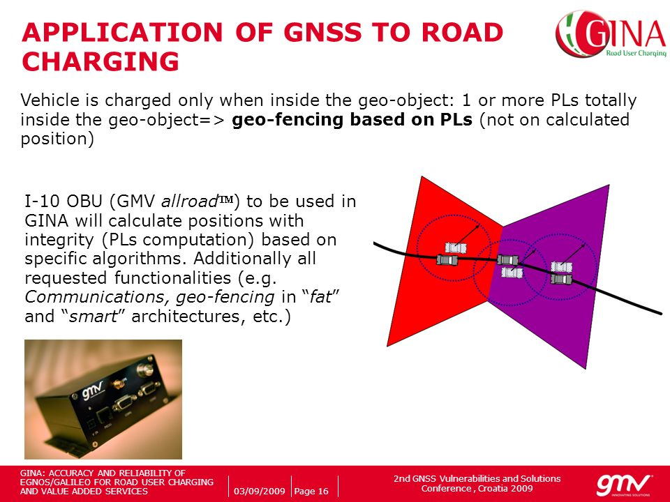 2nd GNSS Vulnerabilities and Solutions Conference, Croatia 2009 Companys logo 03/09/2009Page 16 APPLICATION OF GNSS TO ROAD CHARGING Vehicle is charged only when inside the geo-object: 1 or more PLs totally inside the geo-object=> geo-fencing based on PLs (not on calculated position) I-10 OBU (GMV allroad) to be used in GINA will calculate positions with integrity (PLs computation) based on specific algorithms.