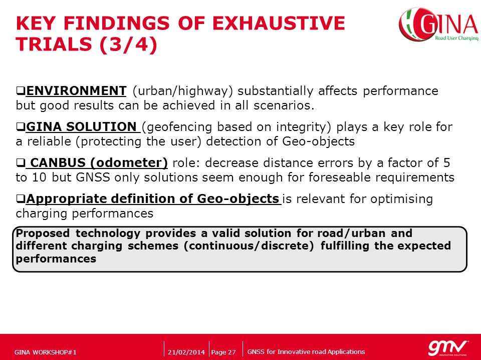GNSS for Innovative road Applications Companys logo 21/02/2014Page 27 KEY FINDINGS OF EXHAUSTIVE TRIALS (3/4) ENVIRONMENT (urban/highway) substantially affects performance but good results can be achieved in all scenarios.
