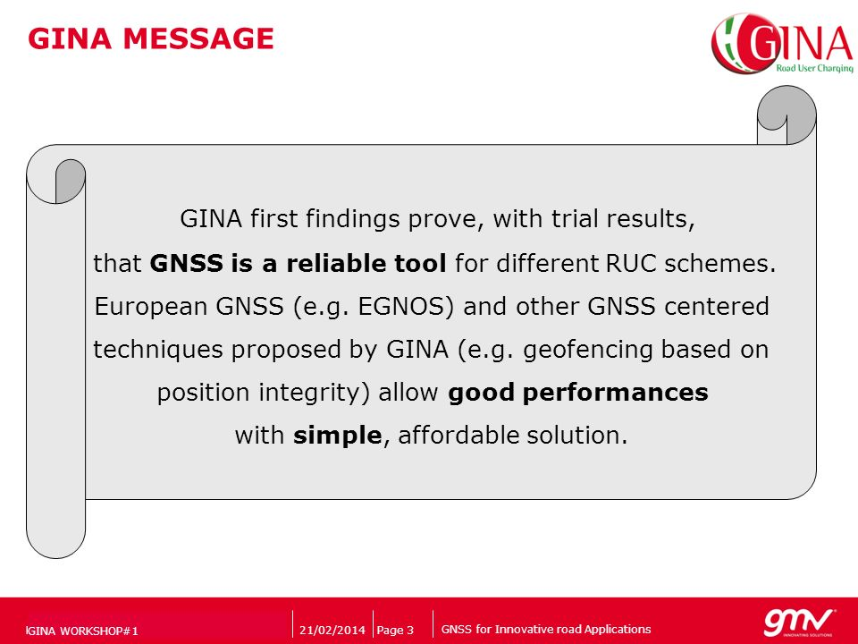 GNSS for Innovative road Applications Companys logo 21/02/2014Page 3PRESENTATION TITLE VERDANA (9) GINA WORKSHOP#1 GINA MESSAGE GINA first findings pr