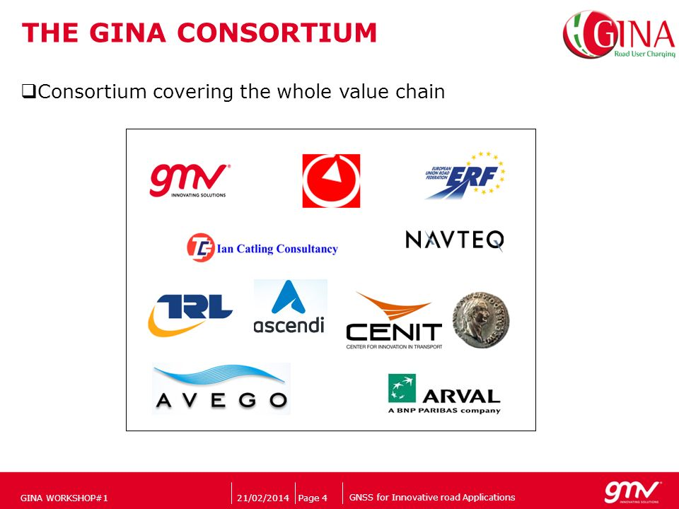 GNSS for Innovative road Applications Companys logo 21/02/2014Page 4 THE GINA CONSORTIUM GINA WORKSHOP#1 Consortium covering the whole value chain