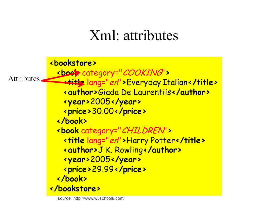 Xml: special characters Some characters have special meaning, so they must be handled with care << >> && &apos; if salary if salary < 1000 then source: http://www.w3schools.com/