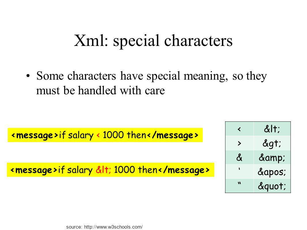 Xml: special characters Some characters have special meaning, so they must be handled with care <&lt; >&gt; &&amp; &apos; &quot; if salary if salary &