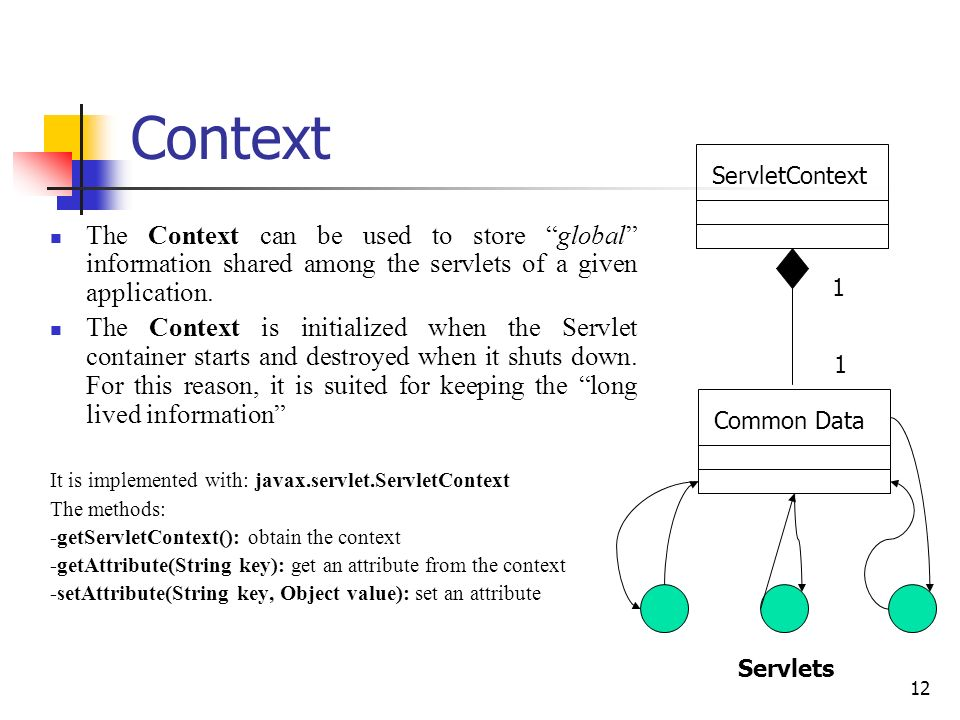 12 Context The Context can be used to store global information shared among the servlets of a given application. The Context is initialized when the S