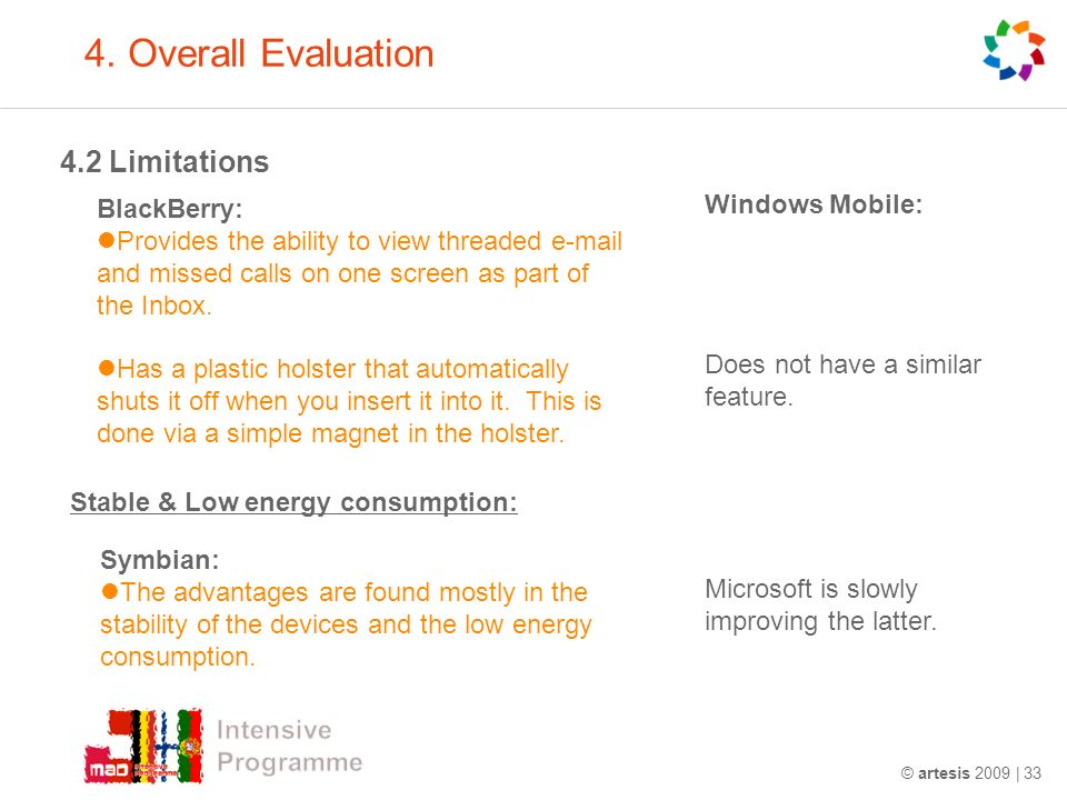 4. Overall Evaluation 4.2 Limitations © artesis 2009 | 33 BlackBerry: Provides the ability to view threaded e-mail and missed calls on one screen as p