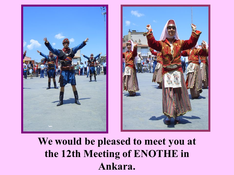 We would be pleased to meet you at the 12th Meeting of ENOTHE in Ankara.