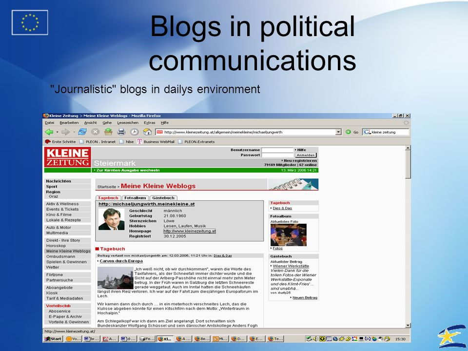 Blogs in political communications No.1 in technorati ratings for Europe >20,000 links