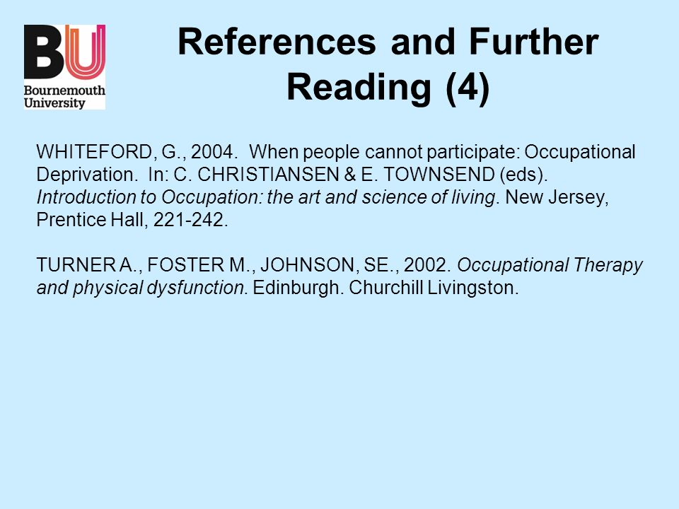 References and Further Reading (4) WHITEFORD, G., 2004.