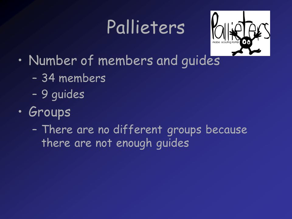 Pallieters Number of members and guides –34 members –9 guides Groups –There are no different groups because there are not enough guides