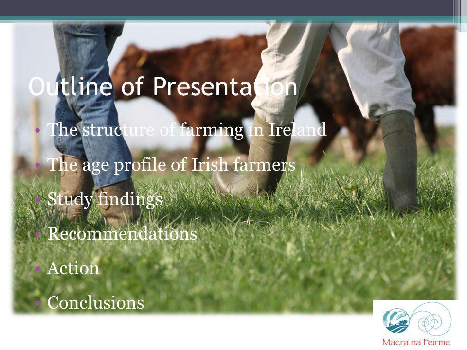 Outline of Presentation The structure of farming in Ireland The age profile of Irish farmers Study findings Recommendations Action Conclusions