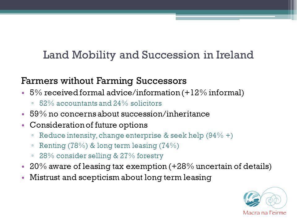 Land Mobility and Succession in Ireland Farmers without Farming Successors 5% received formal advice/information (+12% informal) 52% accountants and 2