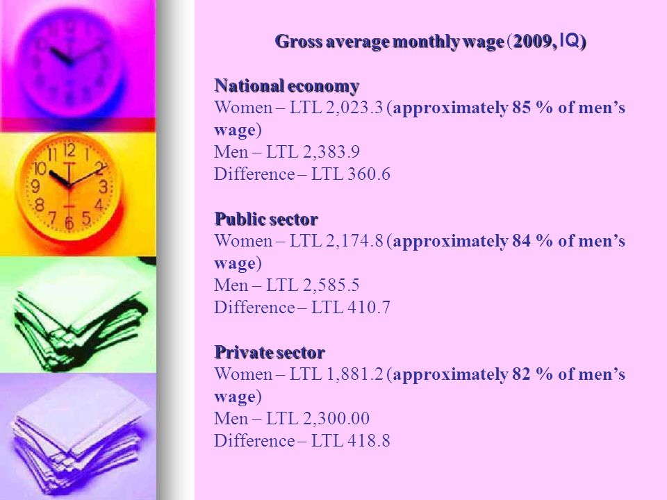 Gross average monthly wage2009, ) Gross average monthly wage (2009, IQ ) National economy Women – LTL 2,023.3 (approximately 85 % of mens wage) Men – LTL 2,383.9 Difference – LTL 360.6 Public sector Women – LTL 2,174.8 (approximately 84 % of mens wage) Men – LTL 2,585.5 Difference – LTL 410.7 Private sector Women – LTL 1,881.2 (approximately 82 % of mens wage) Men – LTL 2,300.00 Difference – LTL 418.8