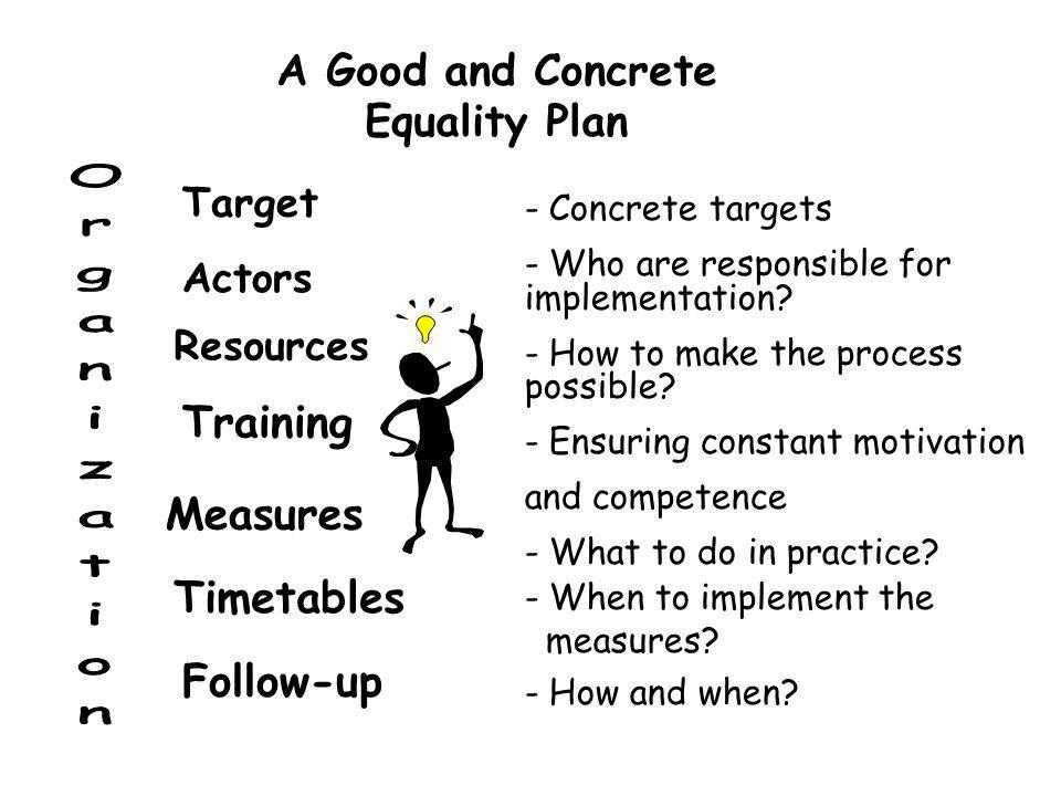 A Good and Concrete Equality Plan - Concrete targets - Who are responsible for implementation.