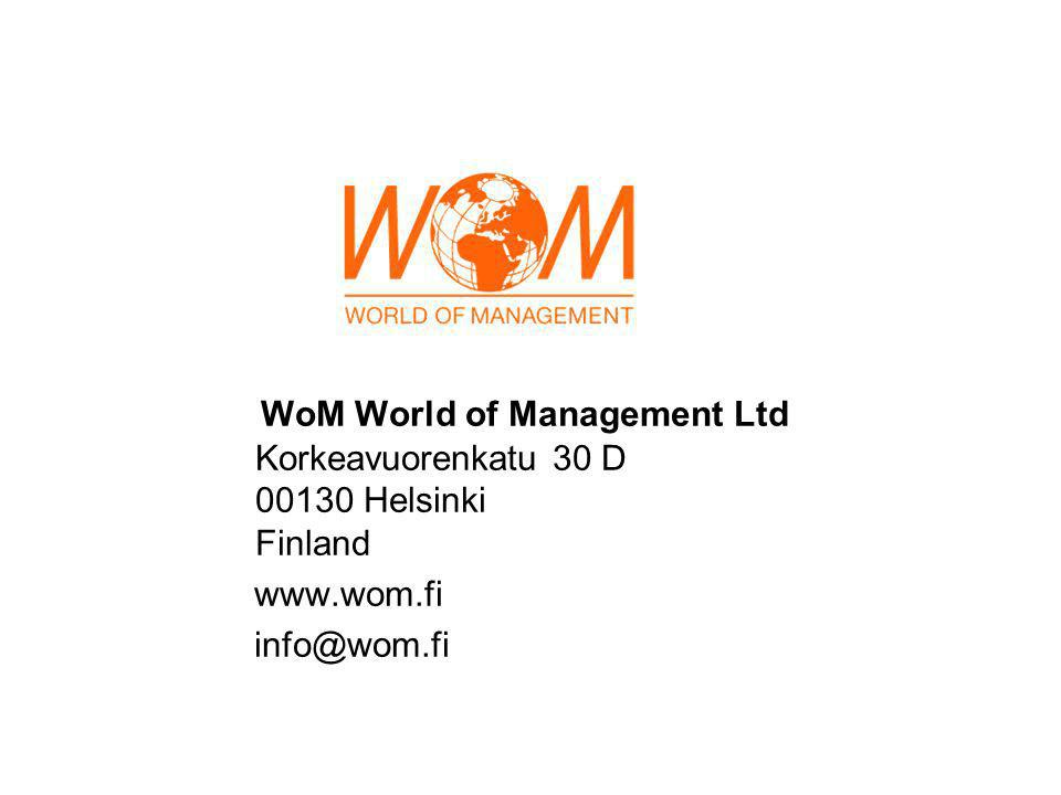 WoM World of Management Ltd Korkeavuorenkatu 30 D 00130 Helsinki Finland www.wom.fi info@wom.fi