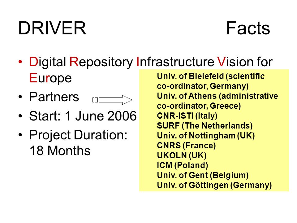 DRIVERFacts Digital Repository Infrastructure Vision for Europe Partners Start: 1 June 2006 Project Duration: 18 Months Univ. of Bielefeld (scientific